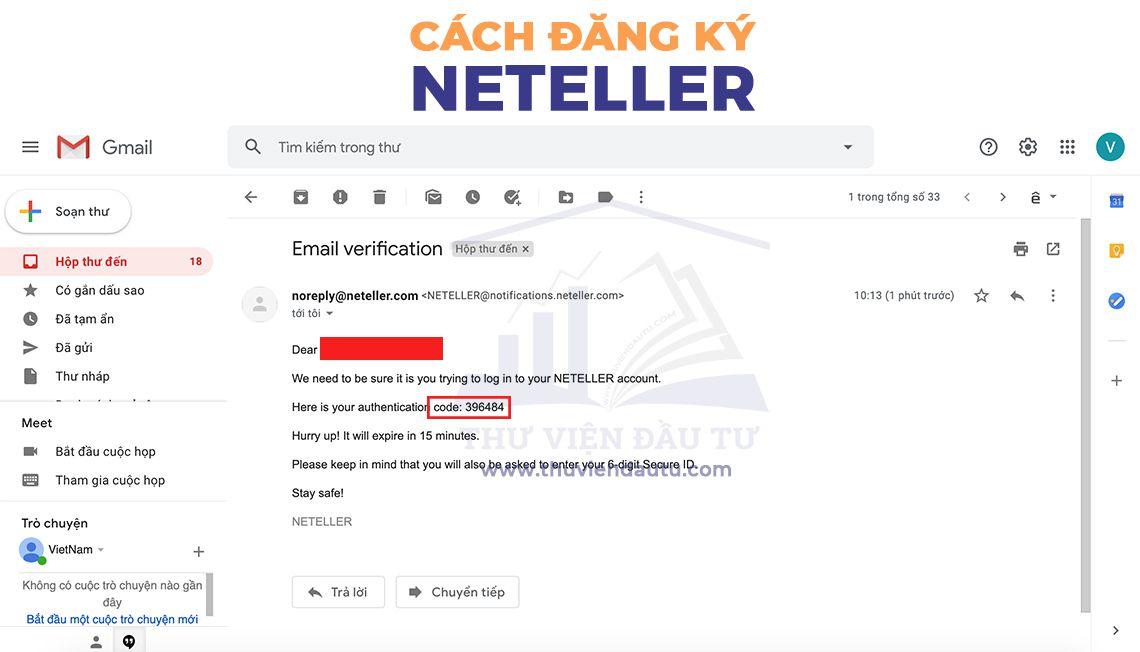 Hướng dẫn mở tài khoản Neteller mã code gửi về email