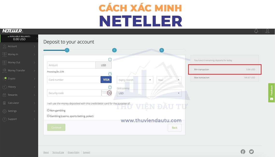 Điền thông tin xác minh nạp tiền bằng thẻ ngân hàng