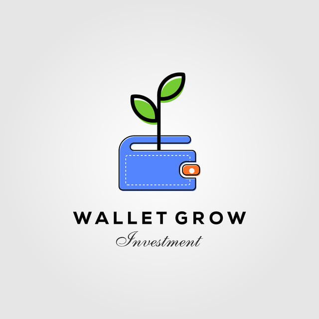 wallet leaf sprout money grow investment logo designs